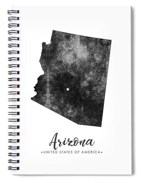Arizona State Map Art - Grunge Silhouette Spiral Notebook
