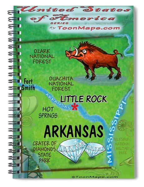 Arkansas Fun Map Spiral Notebook