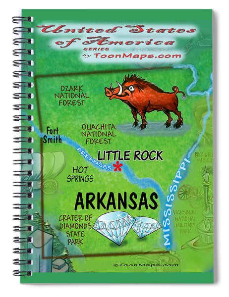 Arkansas Fun Map Spiral Notebook