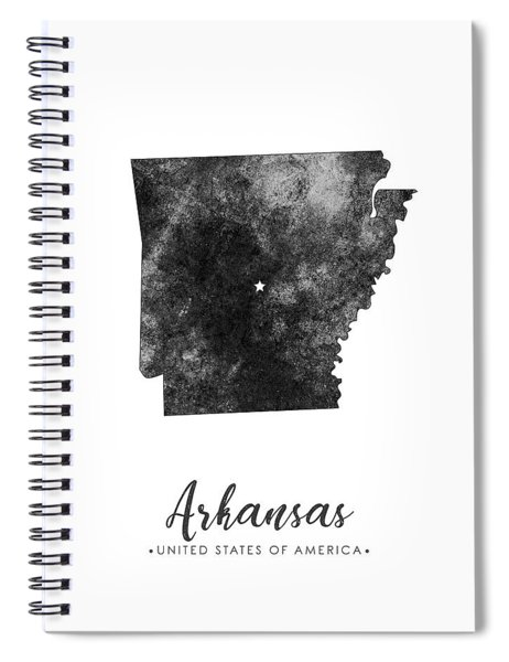 Arkansas State Map Art - Grunge Silhouette Spiral Notebook