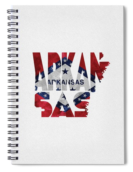 Arkansas Typographic Map Flag Spiral Notebook