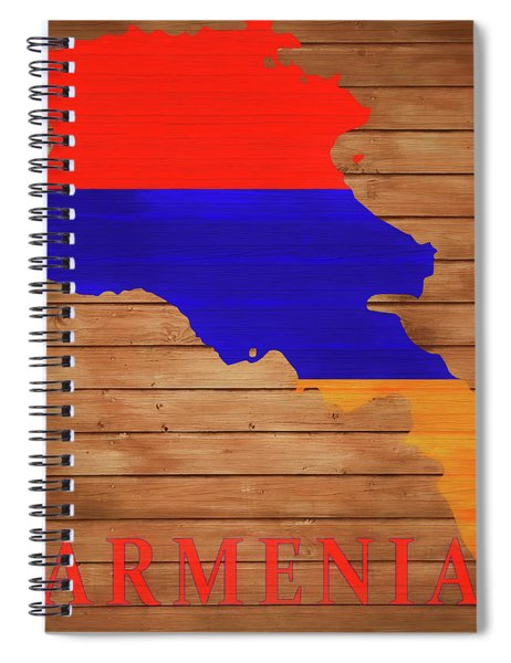 Armenia Rustic Map On Wood Spiral Notebook