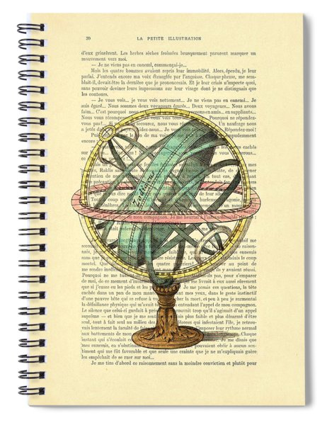 Armillary Sphere In Color Antique Illustration On Book Page Spiral Notebook