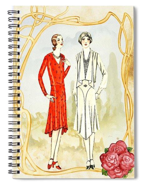 Art Deco Fashion Girls Spiral Notebook