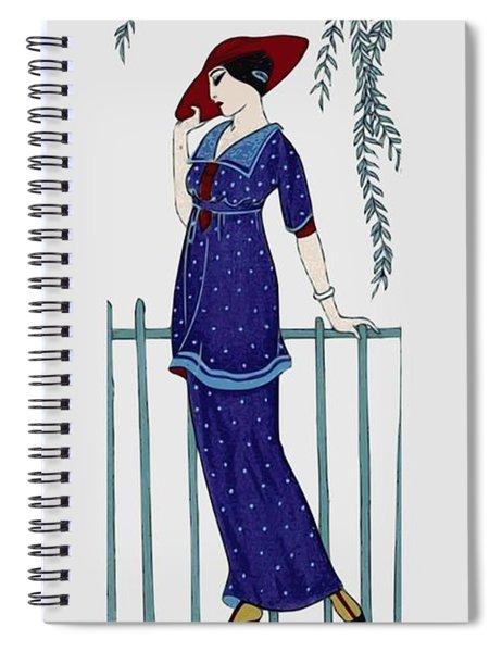 Art Deco Fashion Polka Dots Spiral Notebook