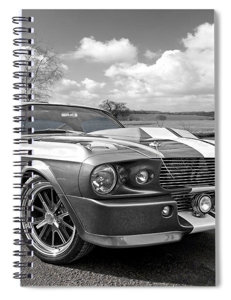 1967 Eleanor Mustang In Black And White Spiral Notebook