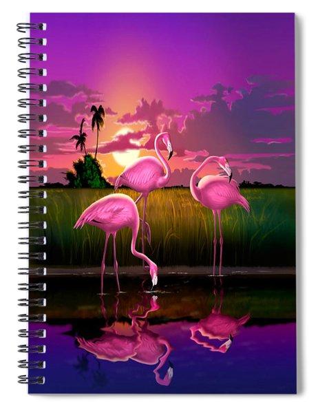 Pink Flamingos At Sunset Tropical Landscape - Square Format Spiral Notebook
