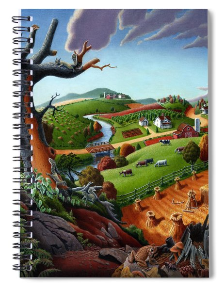 Appalachian Fall Thanksgiving Wheat Field Harvest Farm Landscape Painting - Rural Americana - Autumn Spiral Notebook
