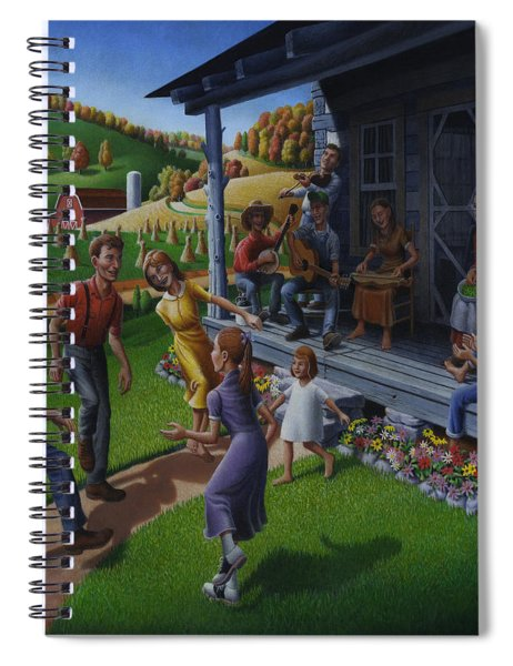 Porch Music And Flatfoot Dancing - Mountain Music - Appalachian Traditions - Appalachia Farm Spiral Notebook
