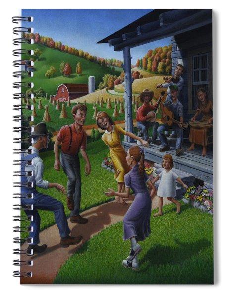 Porch Music And Flatfoot Dancing - Mountain Music - Appalachian Traditions - Appalachia Farm Spiral Notebook