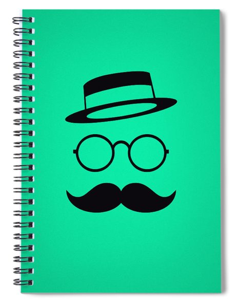 Retro Minimal Vintage Face With Moustache And Glasses Spiral Notebook