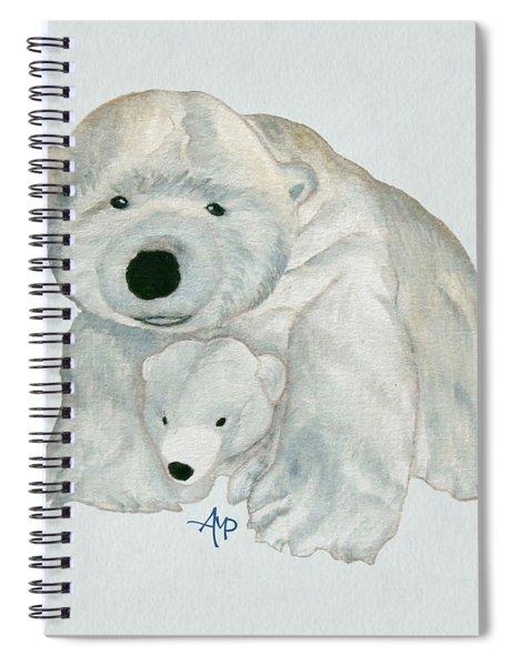 Cuddly Polar Bear Watercolor Spiral Notebook