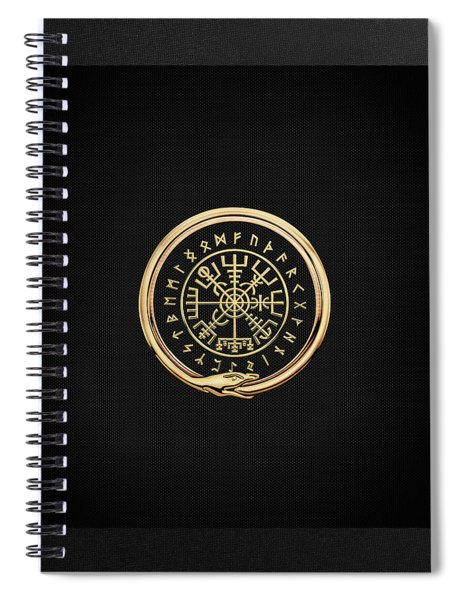 Vegvisir - A Magic Icelandic Viking Runic Compass - Gold On Black Spiral Notebook