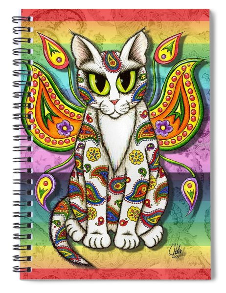 Rainbow Paisley Fairy Cat Spiral Notebook