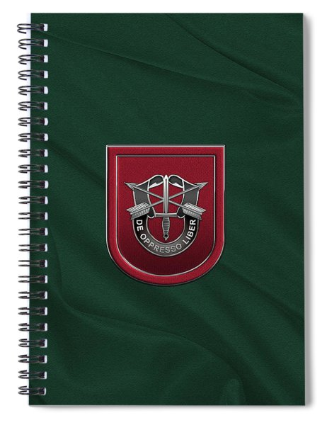 U. S.  Army 7th Special Forces Group - 7 S F G  Beret Flash Over Green Beret Felt Spiral Notebook