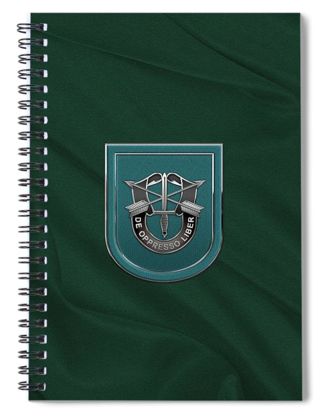 U. S.  Army 19th Special Forces Group - 19 S F G  Beret Flash Over Green Beret Felt Spiral Notebook