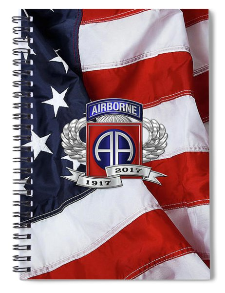 82nd Airborne Division 100th Anniversary Insignia Over American Flag  Spiral Notebook