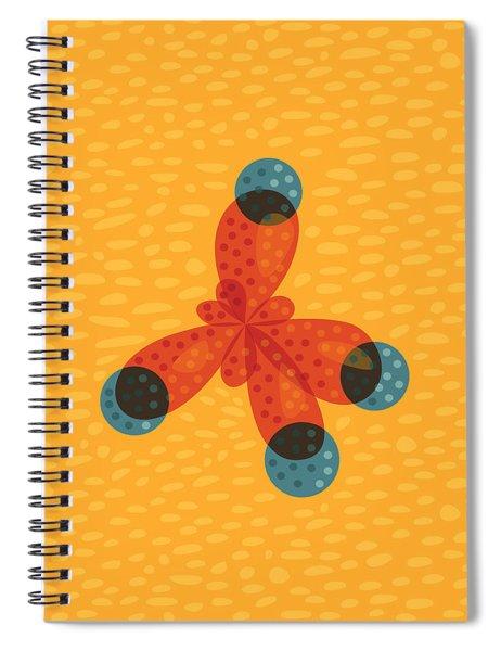Orange Methane Molecule Spiral Notebook