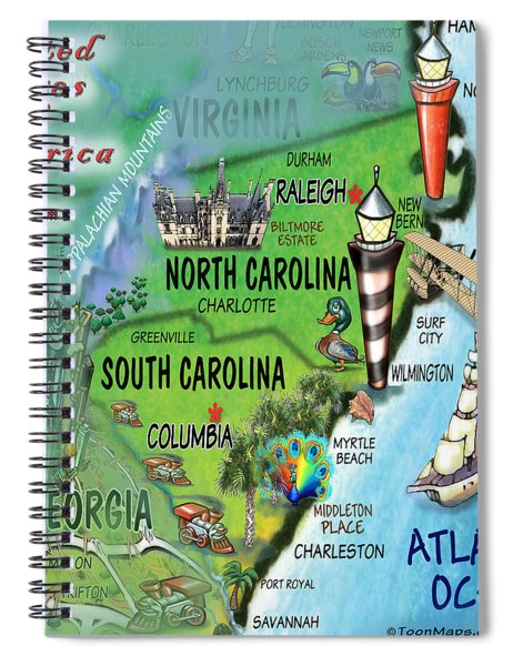 North South Carolina Fun Map Spiral Notebook