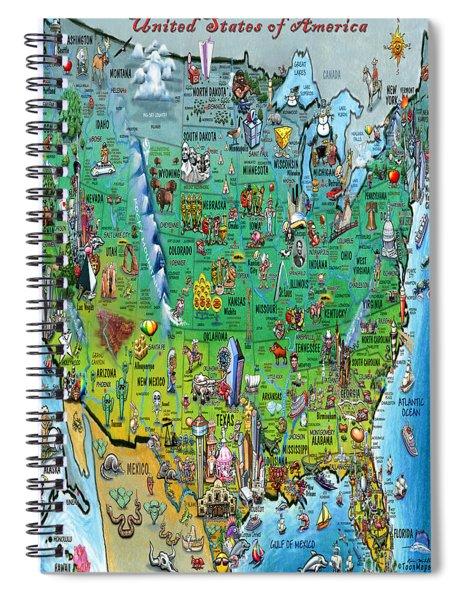 United States Of America Fun Map Spiral Notebook