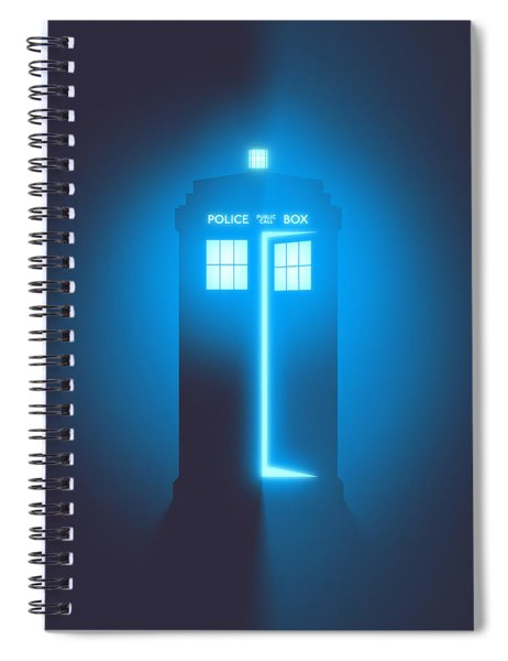 Police Box Phone Booth - Black Spiral Notebook
