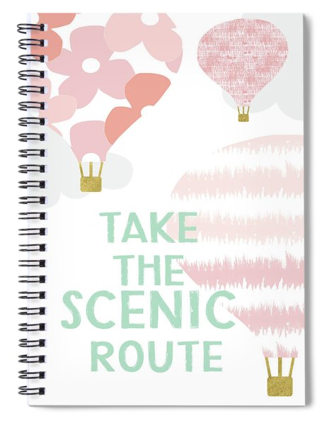 Take The Scenic Route Pink- Art By Linda Woods Spiral Notebook