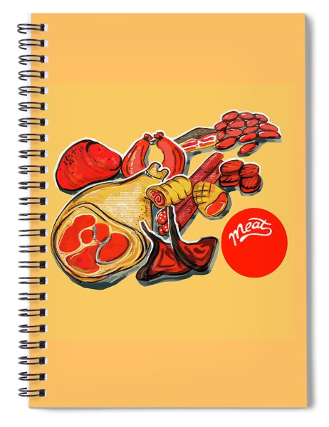 Kitchen Illustration Of Menu Of Meat Products  Spiral Notebook