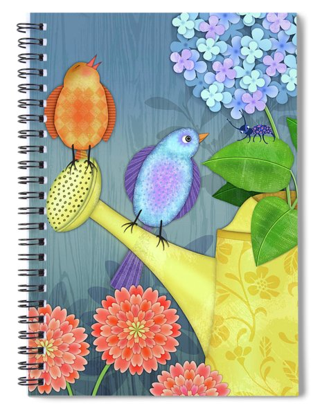 Two Birds On A Watering Can Spiral Notebook