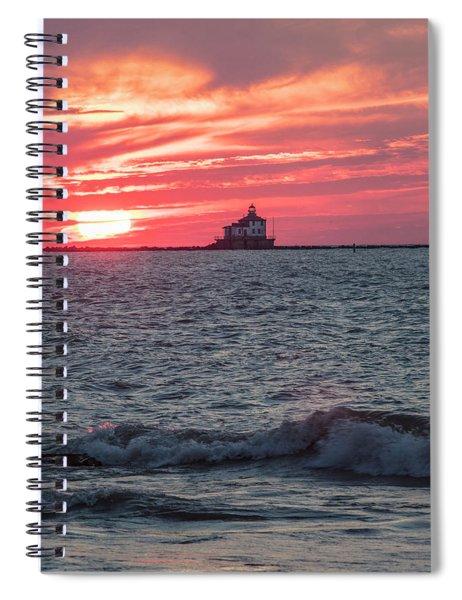 Ashtabula Ohio Lighthouse At Sunset  Spiral Notebook