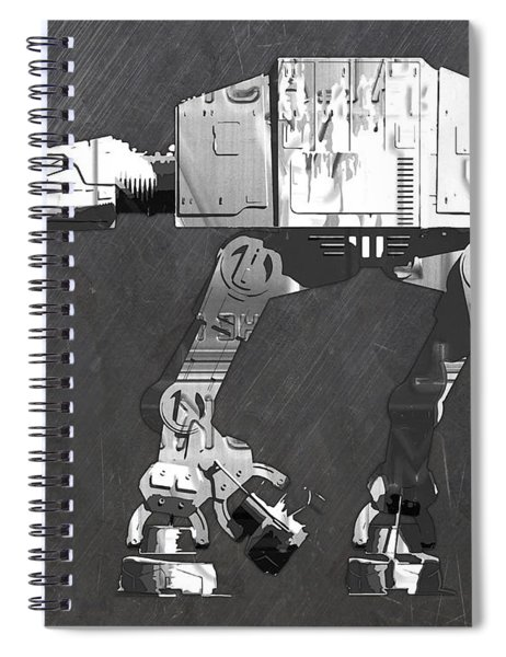At At Walker From Star Wars Vintage Recycled License Plate Scrap Metal Art Spiral Notebook