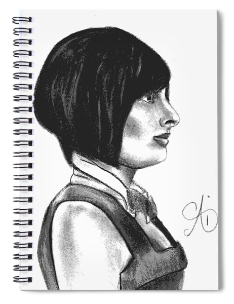 At Your Service - Bartender Art - Charcoal Drawing Illustration By Ai P. Nilson  Spiral Notebook