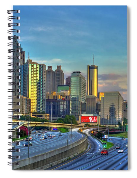 Atlanta Coca-cola Sunset Reflections Art Spiral Notebook