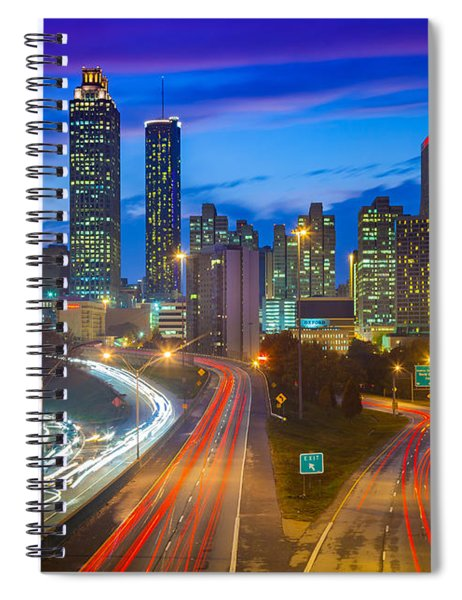 Spiral Notebook featuring the photograph Atlanta Downtown By Night by Inge Johnsson