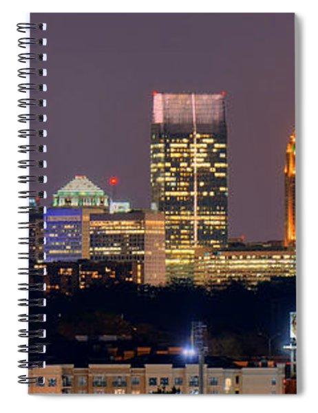 Atlanta Skyline At Night Downtown Midtown Color Panorama Spiral Notebook