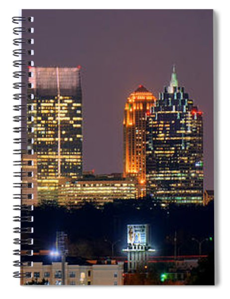 Atlanta Skyline At Night Downtown Midtown Color Panorama Spiral Notebook