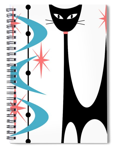 Atomic Cat Turquoise And Pink  Spiral Notebook