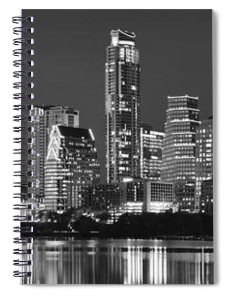Austin Skyline At Night Black And White Bw Panorama Texas Spiral Notebook
