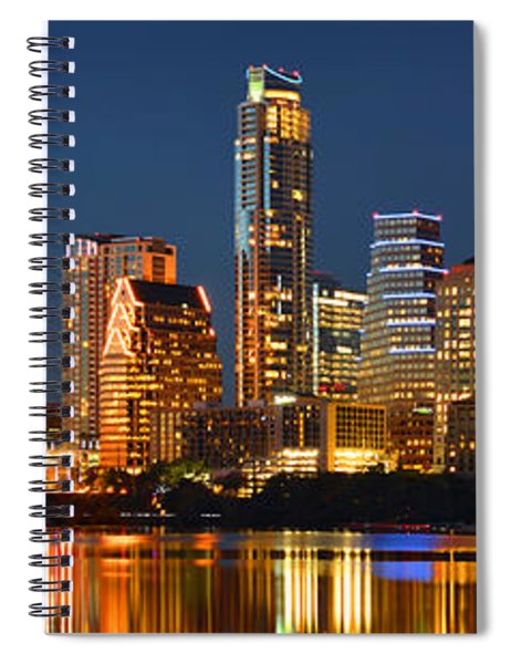 Austin Skyline At Night Color Panorama Texas Spiral Notebook