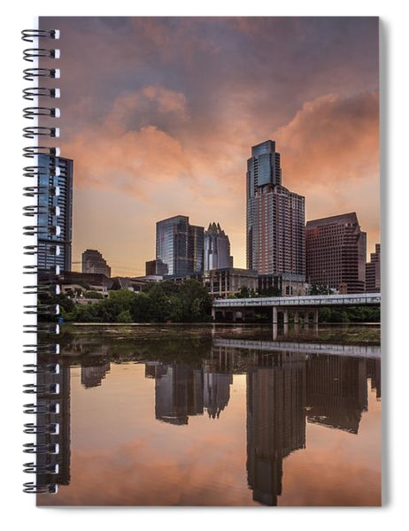 Austin Skyline Sunrise Reflection Spiral Notebook