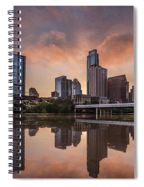 Austin Skyline Sunrise Reflection Spiral Notebook