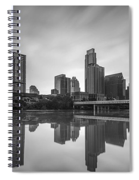 Austin Texas Skyline Reflecting In Ladybird Lake Long Exposure Spiral Notebook