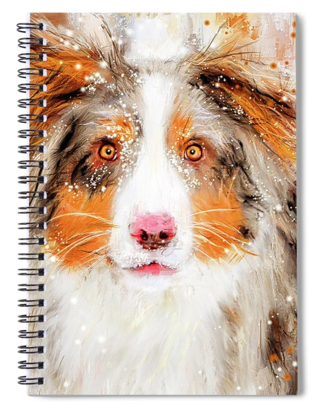 Australian Shepherd Paintings Spiral Notebook