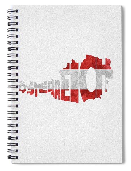 Austria Typographic Map Flag Spiral Notebook