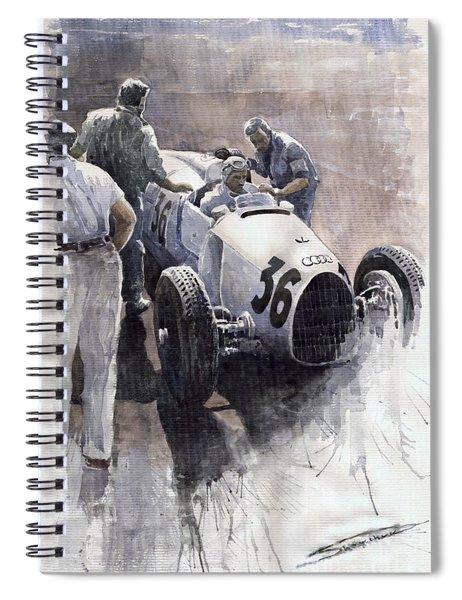 Auto Union B Type 1935 Italian Gp Monza B Rosermeyer Spiral Notebook