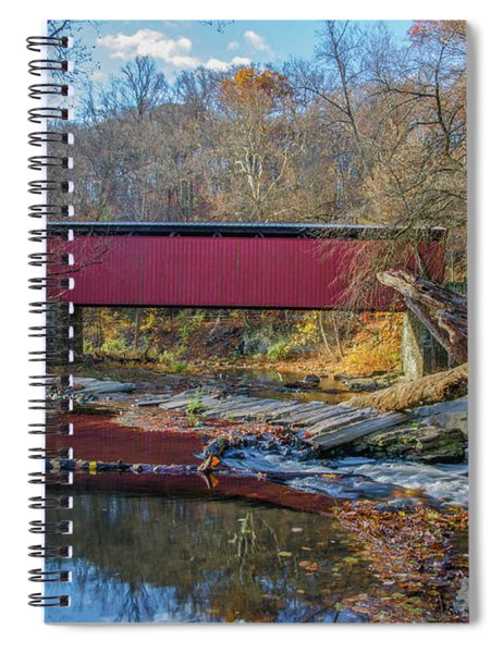 Autumn Along The Wissahickon Creek -thomas Mill Covered Bridge Spiral Notebook