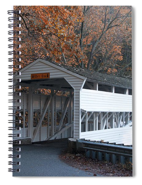 Autumn At Knox Covered Bridge In Valley Forge Spiral Notebook