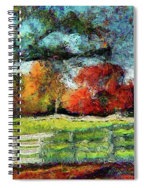 Autumn Field On The Farm Spiral Notebook