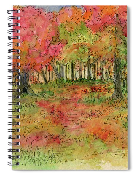 Autumn Forest Watercolor Illustration Spiral Notebook