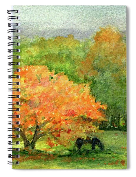 Autumn Maple With Horses Grazing Spiral Notebook