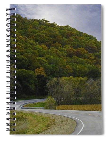 Spiral Notebook featuring the photograph Autumn Motorcycle Rider / Red by Patti Deters